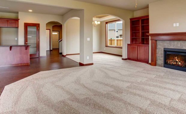 a living room that received carpet cleaning services