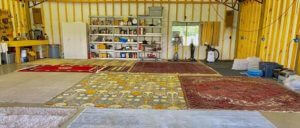 Safedry technicians cleaning oriental rugs
