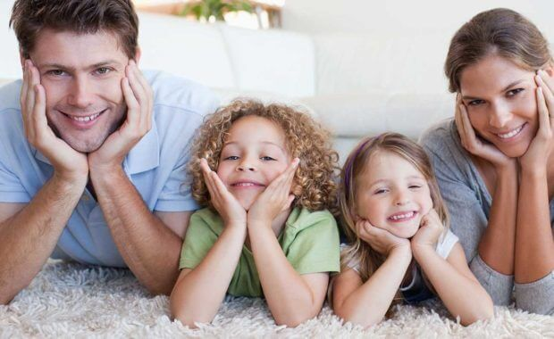 healthy family after a professional carpet cleaning