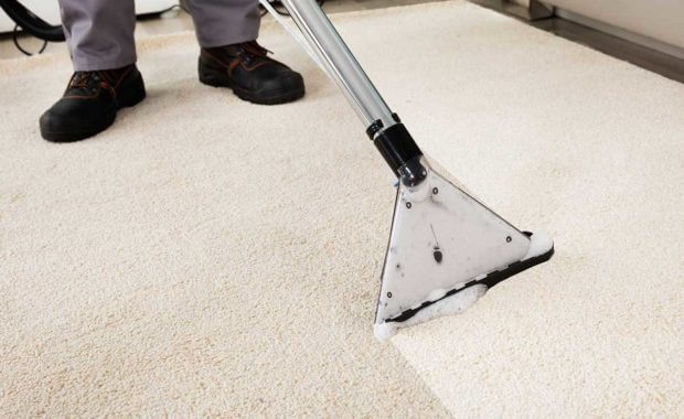 professional carpet cleaner performing an area rug cleaning service