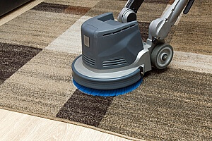 professional carpet cleaner using a disk machine to clean an area rug