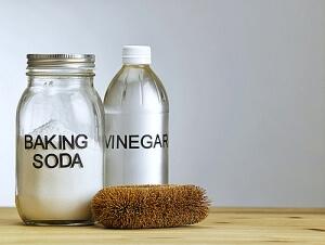 Baking soda vinegar and stiff brush