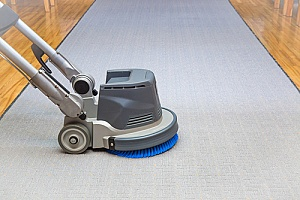 a professional carpet cleaner working on an area rug that had mold on it