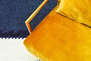 Clean upholstery yellow velvet armchair