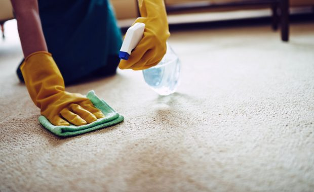 a homeowner performing a DIY grease stain removal.